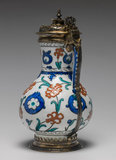 Iznik fritware jug with Elizabethan silver mounts