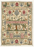English embroidered border sampler, by Ann Smith
