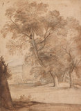 Tall trees in the park of the Villa Madama, by Claude Lorrain