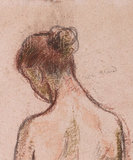 Full-length standing nude of a woman, by Pissarro