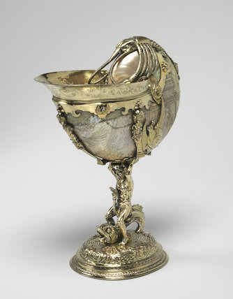 Nautilus shell cup with aquatic emblems