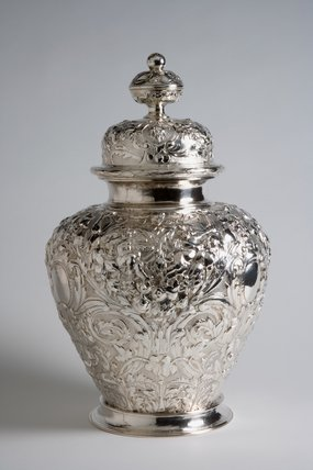 Silver embossed ginger jar, by Jacob Bodendeich by Bodendeich, Jacob