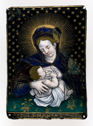 Limoges enamel Virgin and Child, by Jean Limosin