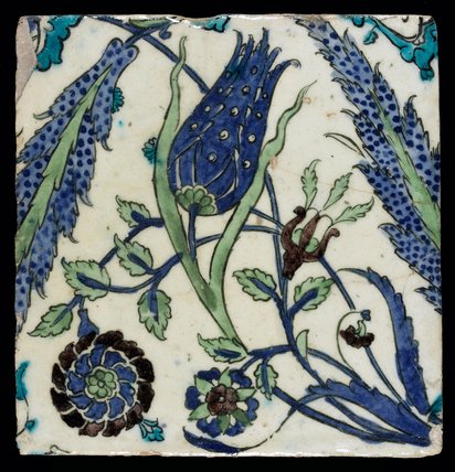 Iznik tile with a tulip, Ottoman