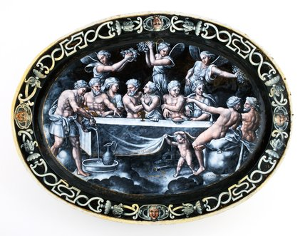 Limoges dish with the wedding of Psyche, by Pierre Courteys