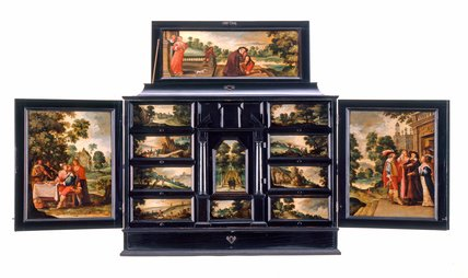 Flemish cabinet with scenes from the Prodigal Son