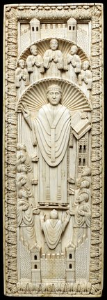 Lotharingian ivory panel, an Archbishop among his choir
