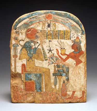 Egyptian stelae with the deceased before Horus
