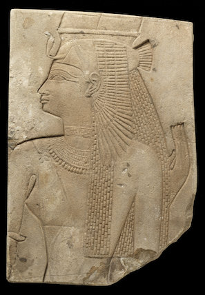 Egyptian sandstone relief of a divine consort