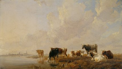 Cattle by a river, by Thomas Sydney Cooper