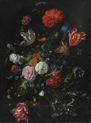 Flowers in a glass vase, by Jan Davidsz. de Heem