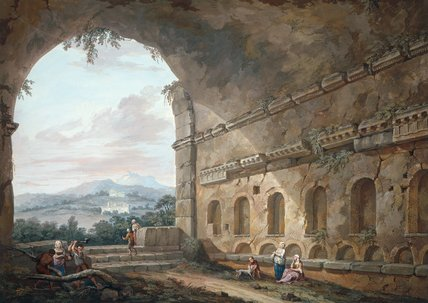 View of the Palazzuolo from the Nymphaeum, by Clerisseau