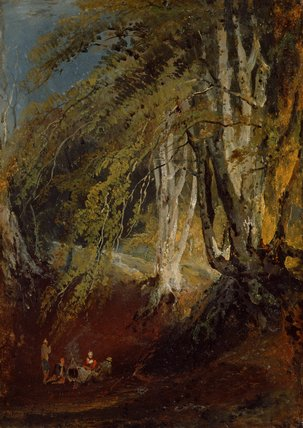 A Beech Wood with Gypsies round a Campfire, by Turner