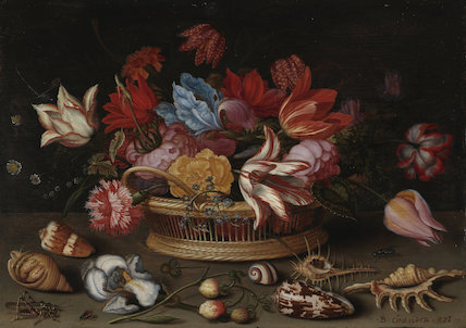 A basket of flowers with shells, by Balthasar van der Ast