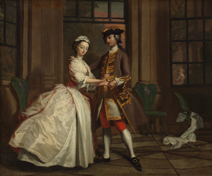 Pamela and Mr B. in the summer house, by Joseph Highmore