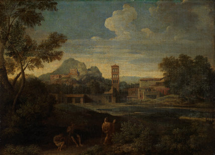 Landscape with figures, by Gaspard Dughet