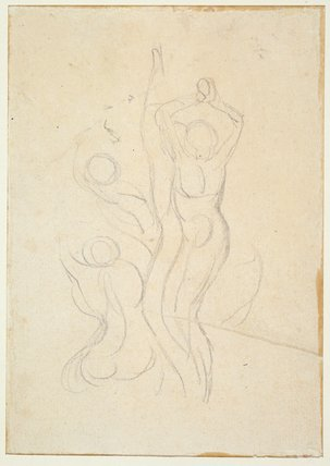 Three figures among flames, by William Blake