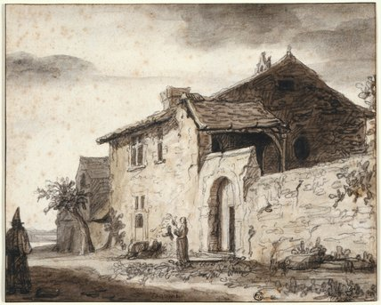 A farmhouse with figures in the foreground, by Lambert Doomer