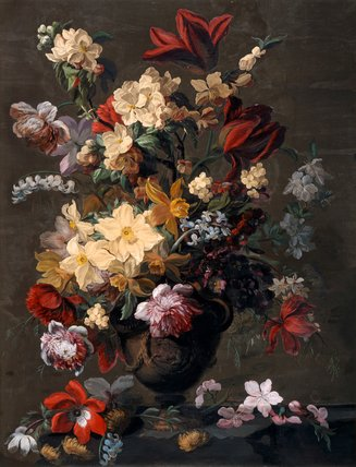 Flowers in a vase, which stands on a ledge, by Mary Moser