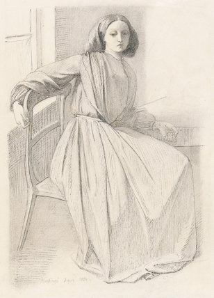 Elizabeth Siddal, seated at a window, by Rossetti