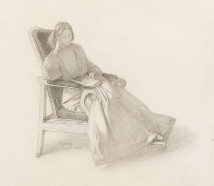 Portrait of Elizabeth Siddal, reading, by Rossetti