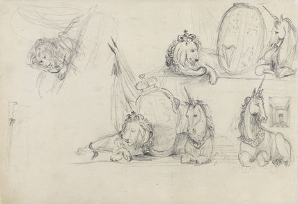 Studies of unicorns and lions, by Turner