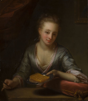 A lady holding a plate, by Godfried Schalcken
