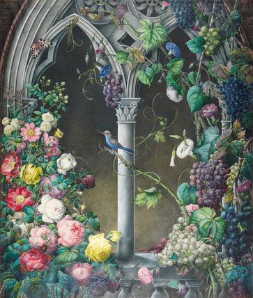 Old roses climbing up an arcade, by Eugene Prevost