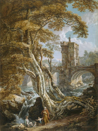 View of Old Shrewsbury Bridge, by Paul Sandby