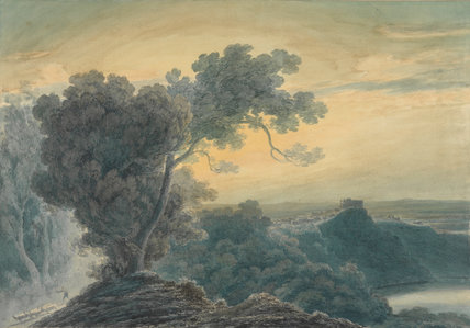 Castel Gandolfo and Lake Albano, by Cozens