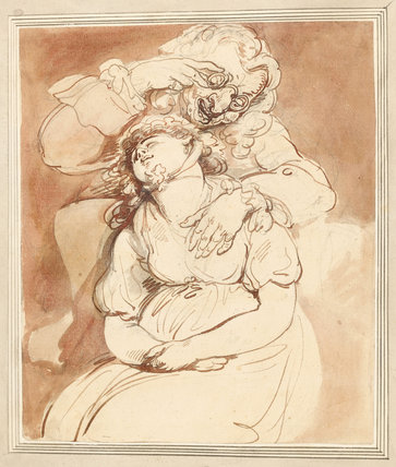 Old Roue and Sleeping Girl, by Thomas Rowlandson