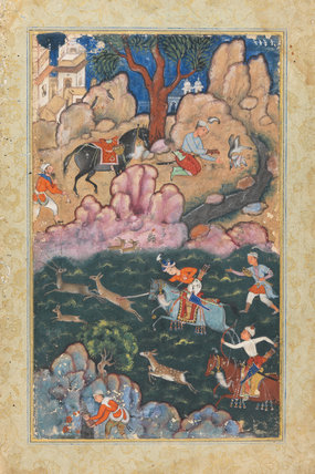 A Prince Spearing Deer, from the Akbarnama