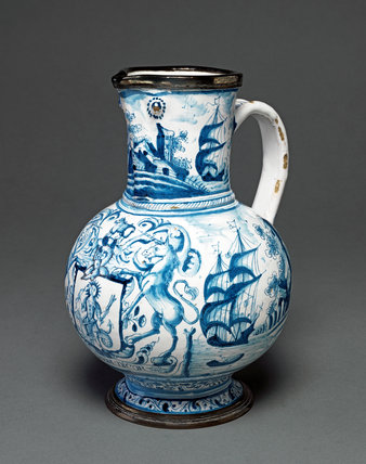 English Delftware Jug with the Arms of the Apothecaries' Company