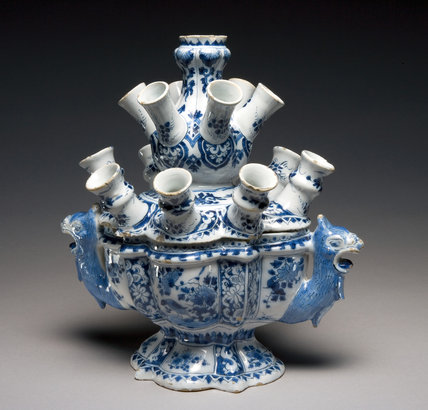 Flower Vase with Spouts, Delftware, Greek A Factory