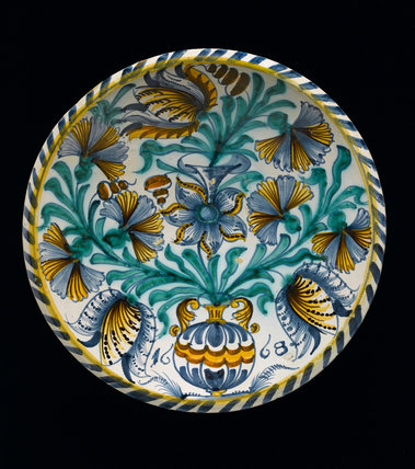 English Delftware Dish with Tulips and Carnations