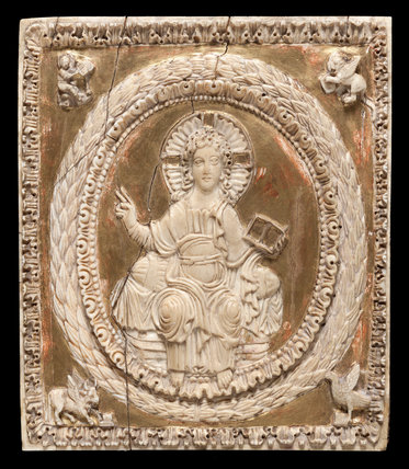 Carolingian carved ivory plaque of Christ in Majesty