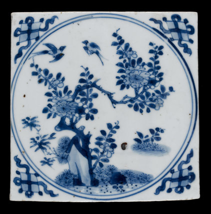 Chinese Tile with a Prunus Tree, Pine and Bamboo, Kangxi Period