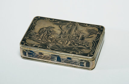 Silver Box with a Vignette of a Man Playing Bagpipes