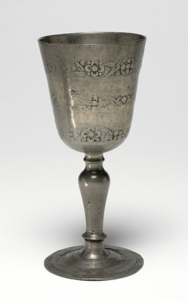 Pewter Chalice with Relief Decoration, English