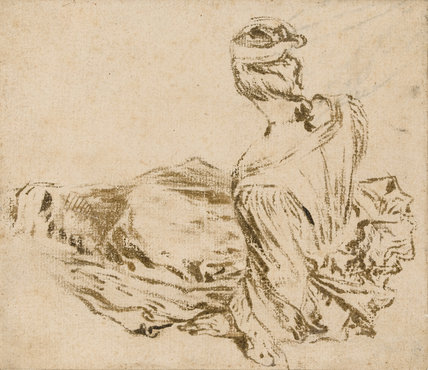 Reclining lady seen from behind, by Watteau