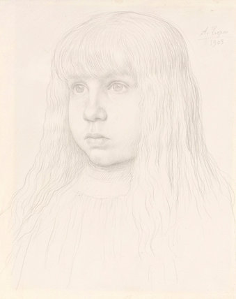 Portrait of a young girl, by Alphonse Legros