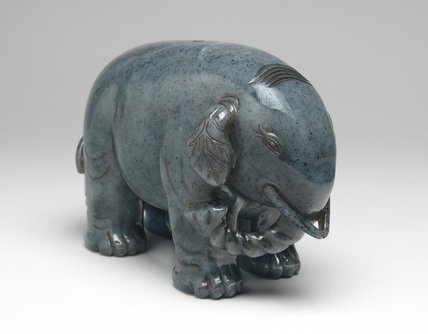 A grey jade standing elephant, Chinese