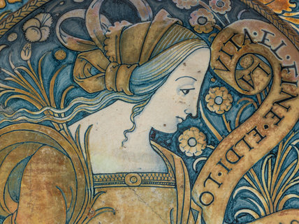 Maiolica dish with a young woman (detail)