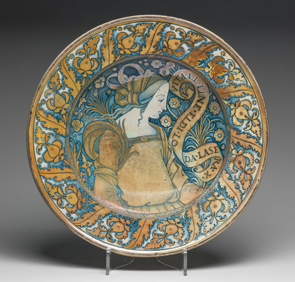 Maiolica dish with a young woman in profile
