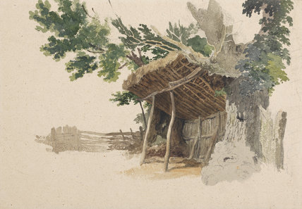 Study of a lean-to shed and trees, by Robert Hills