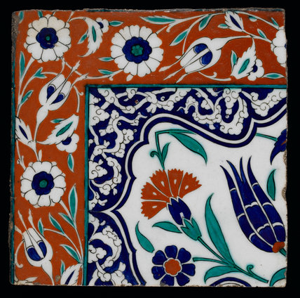 Iznik tile with tulips and carnations, Ottoman
