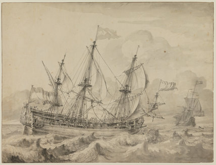 A warship sailing before the wind, by Hendrik Rietschoof