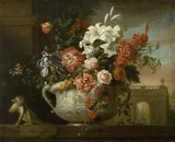 Still life with flowers in an urn, with a monkey, on a ledge, c.1699
