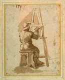A young painter seated at his easel