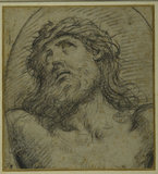 Head and shoulders of the living Christ crucified